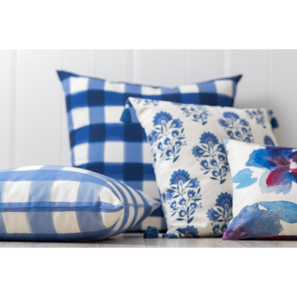 Deep Sea Buffalo Check Pillow Indoor Outdoor Caitlin Wilson