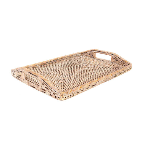Small Woven Tray with Handles in Whitewash