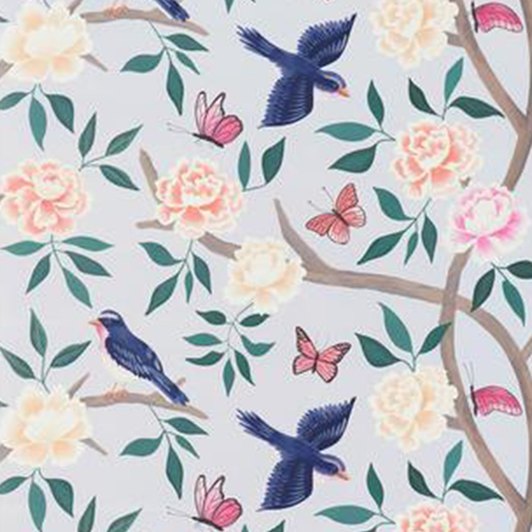 Soft Blue Chinoiserie Wallpaper Swatch