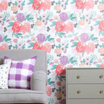 Blooms Grande in White Wallpaper