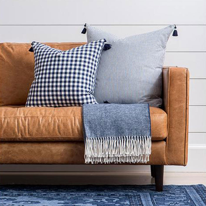 Navy French Stripe Pillow Caitlin Wilson