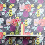 Blooms Grande in Grey Wallpaper