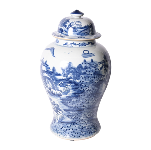 Blue & White Landscape Temple Jar