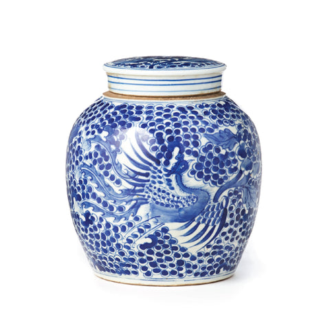 Blue and White Spotted Ginger Jar