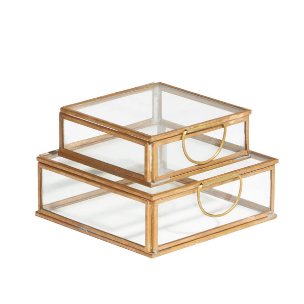 square brass & glass boxes