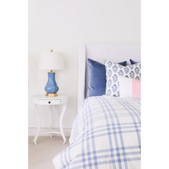 Block Print in French Blue & Blush Pillow