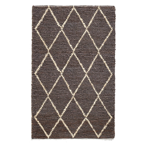 Grey and white Diamond Jute Rug