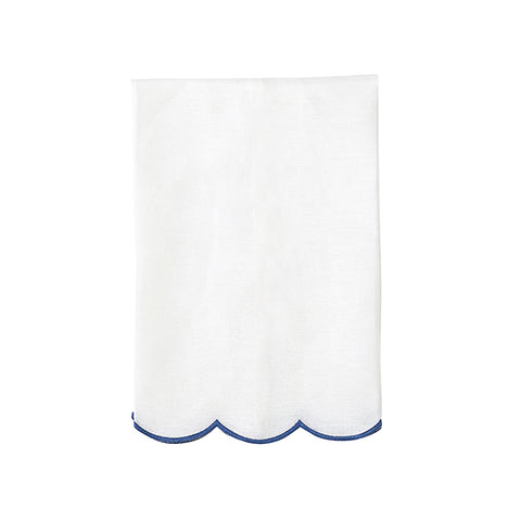 French Blue Scallop Tea Towel