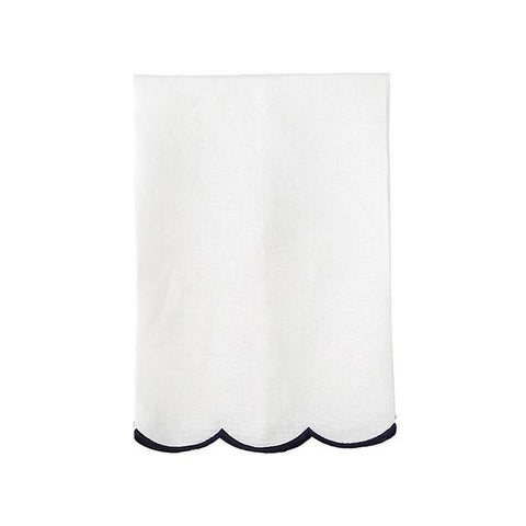 Navy Scallop Tea Towel