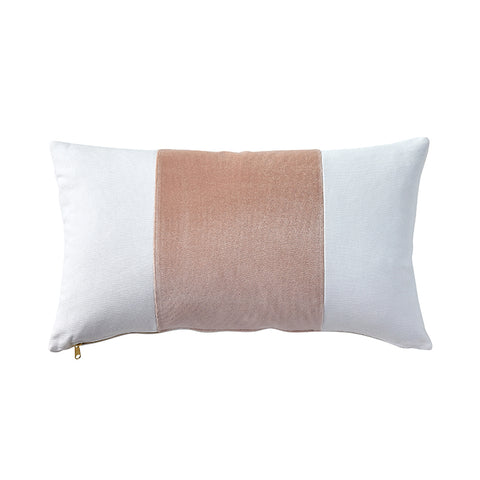 Velvet Broad Stripe Pillow in Rose