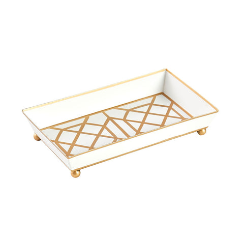 White & Gold Geometric Guest Towel Tray