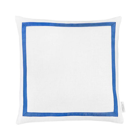 White Linen with Blue Grosgrain Pillow