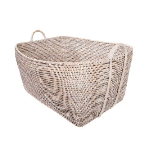 Woven Basket with Hoop Handles in Whitewash