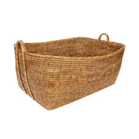 Woven Basket with Hoop Handles in Honey