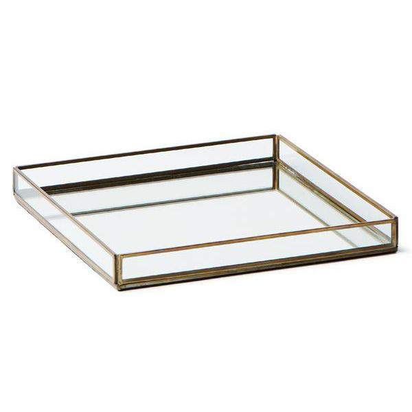 extra large brass & glass tray
