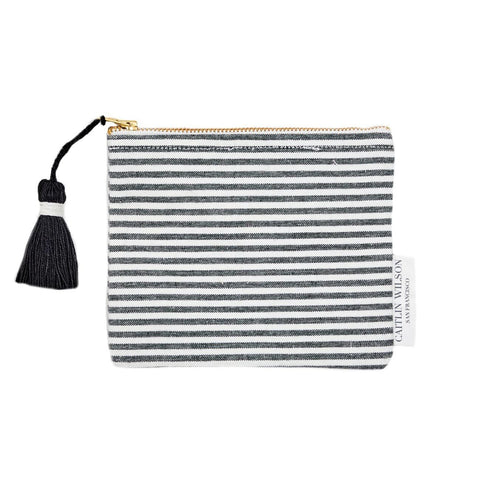 Black Stripe Pouch with Tassel