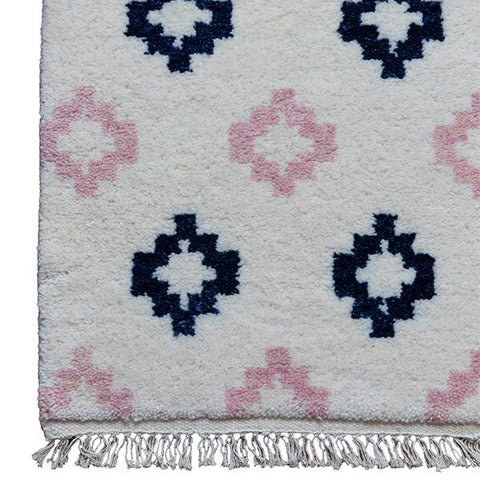 Medallion Moroccan Rug in Blush & Navy