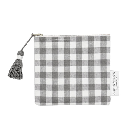 Grey Gingham Pouch with Tassel