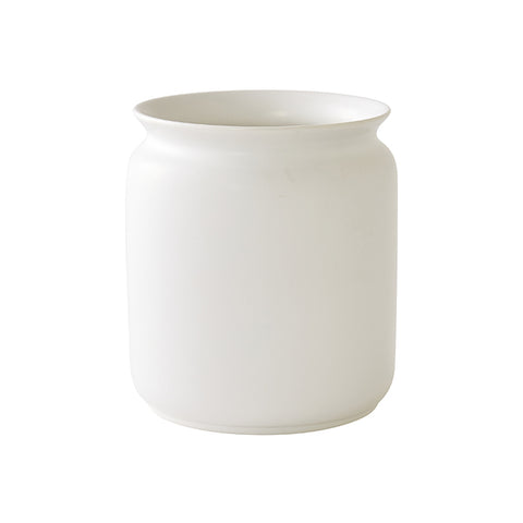 Glossed Floral Vase in White