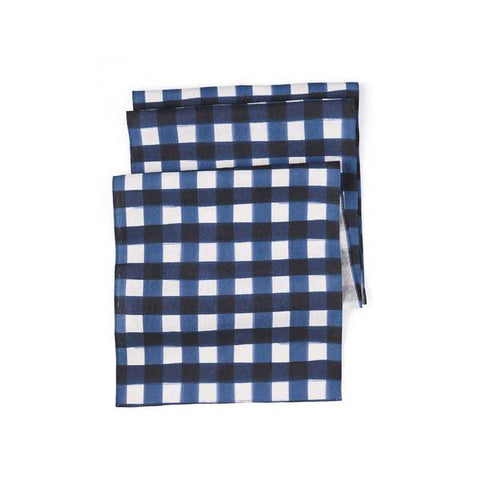 Navy Buffalo Check Table Runner