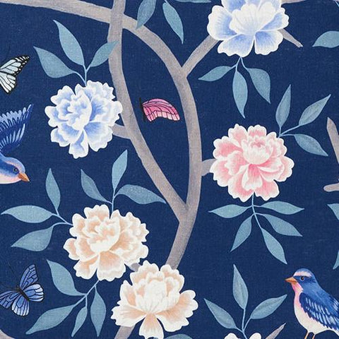 Navy Chinoiserie Fabric