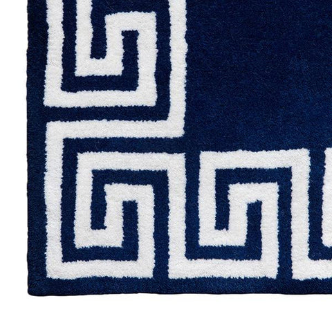 Greek Key Rug in Navy