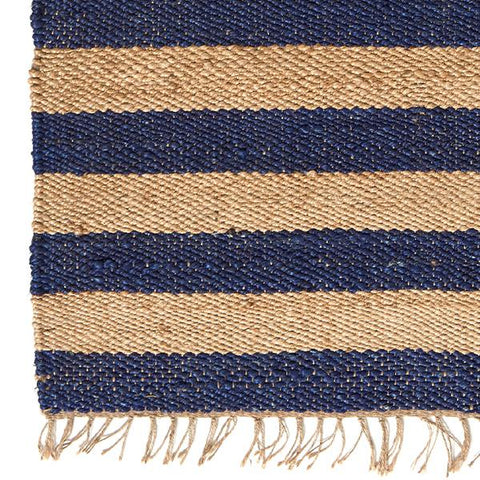 Navy and Natural Stripe Jute Rug