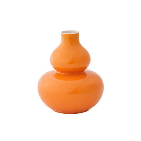 Mini Glossed Rounded Vase in Orange
