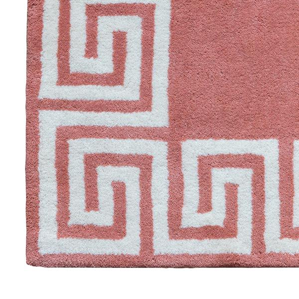peach greek key rug