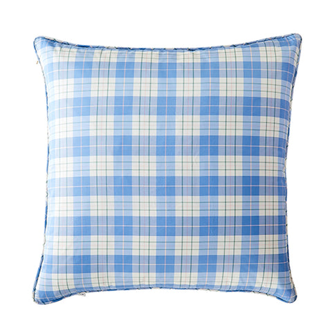 Porcelain Plaid in Silk Pillow