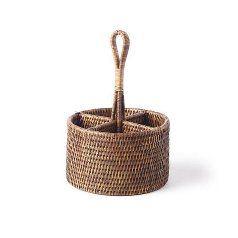Round Rattan Utensil Caddy