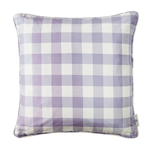 Silk Check Pillow in Lilac
