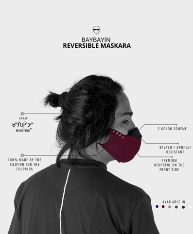 Baybayin reversible facemask by Legazy® red and blue sizing