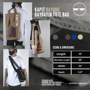Baybayin tote bag by Legazy® Streetwear sizing and dimension krema