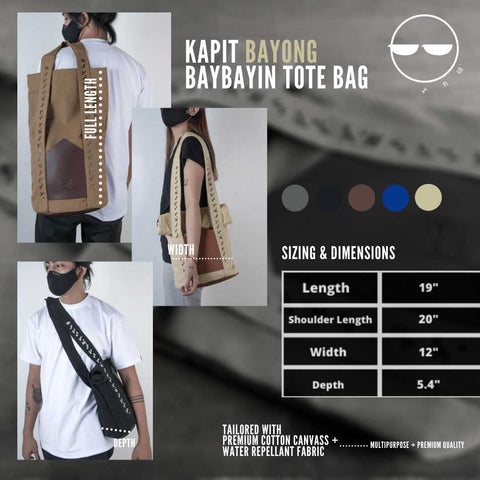 Baybayin tote bags by Legazy® Streetwear sizing and dimension black