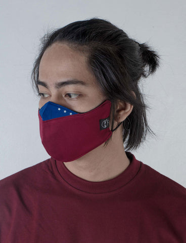 Baybayin reversible facemask by Legazy® red and blue