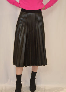 D. Exterior Skirt Pleated Leather Skirt