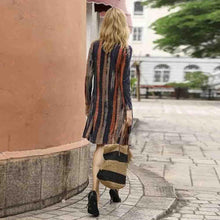 Load image into Gallery viewer, Long Sleeve Red V Neck Striped Vintage Dresses