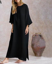 Load image into Gallery viewer, 2020 Fashion Solid Color Cotton and Linen Round Neck Long Sleeve Hem Split Dress