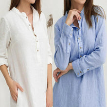 Load image into Gallery viewer, Solid Slit Casual Long Sleeves Linen Maxi Dress