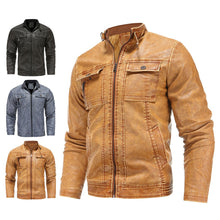 Load image into Gallery viewer, Plus Size Motorcycle Mens Leather Jackets with Velvet Winter Streetwear Fashion Topcoat Outwear