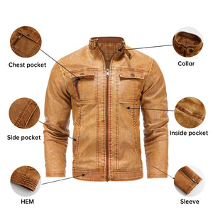 Plus Size Motorcycle Mens Leather Jackets with Velvet Winter Streetwear Fashion Topcoat Outwear