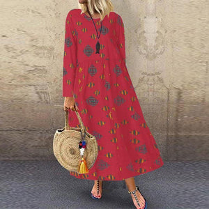 Long Sleeve Dresses Loose Pockets