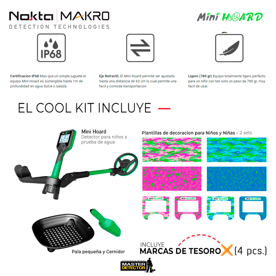 Detector de Metales Nokta Makro Mini Hoard Cool Kit