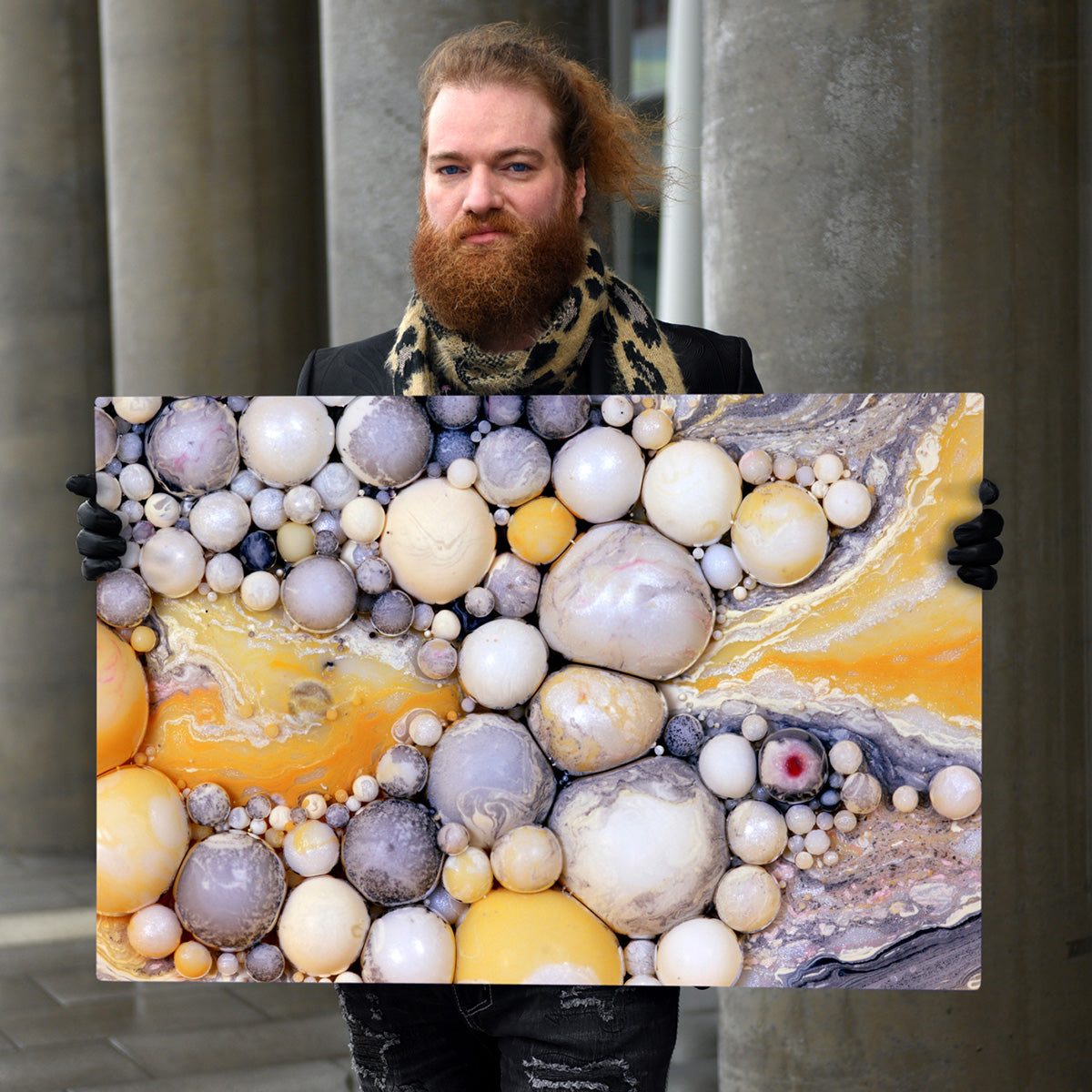 "Seb Duke, The Big in the Small, holding art photo, ""Dreaming of Silver and Gold"""