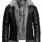 Standard Lapel Winter Straight Leather Jacket