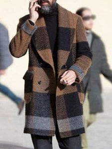 Button Lapel Color Block Slim Fall Coat