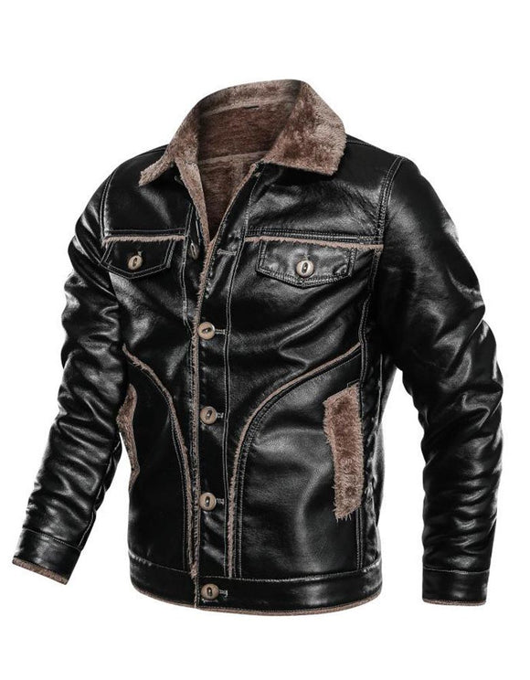 Men's plush leather jacket with fur collar