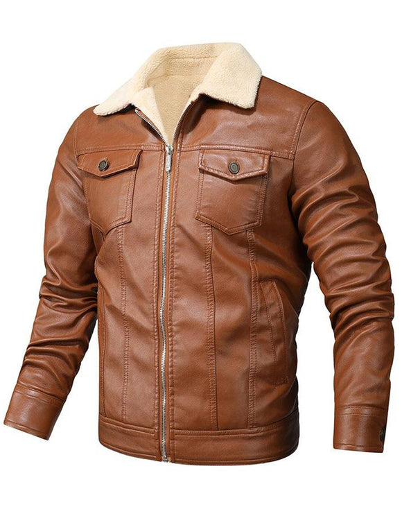 Men's Retro PU Jackets Slim Fit Motorcycle Leather Jacket Outwear Male Warm Bomber Military Outdoor Coat
