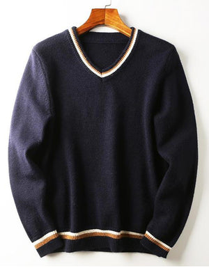 Men's warm thread color matching V-neck casual sweater